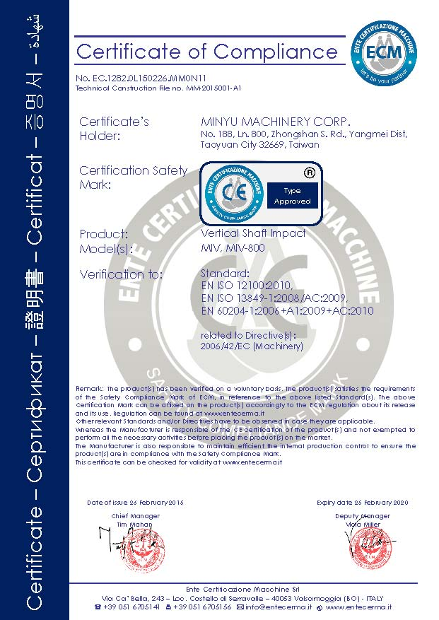CE Mark for Minyu Vertical Shaft Impactor