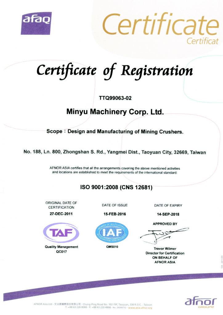 Minyu Machinery Corp ISO 9001-2008