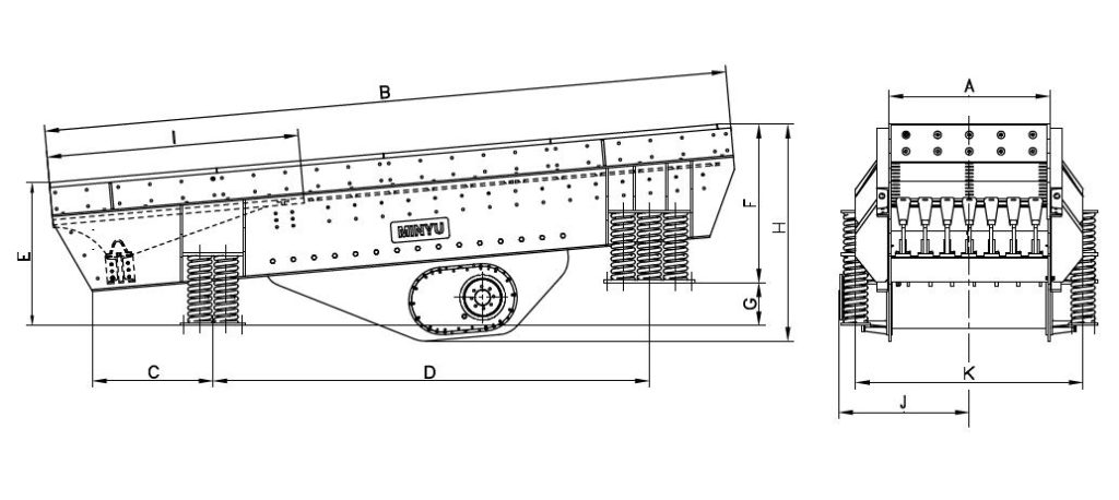 MVGH Horizontal Vibrating Grizzly Feeder Dimensions