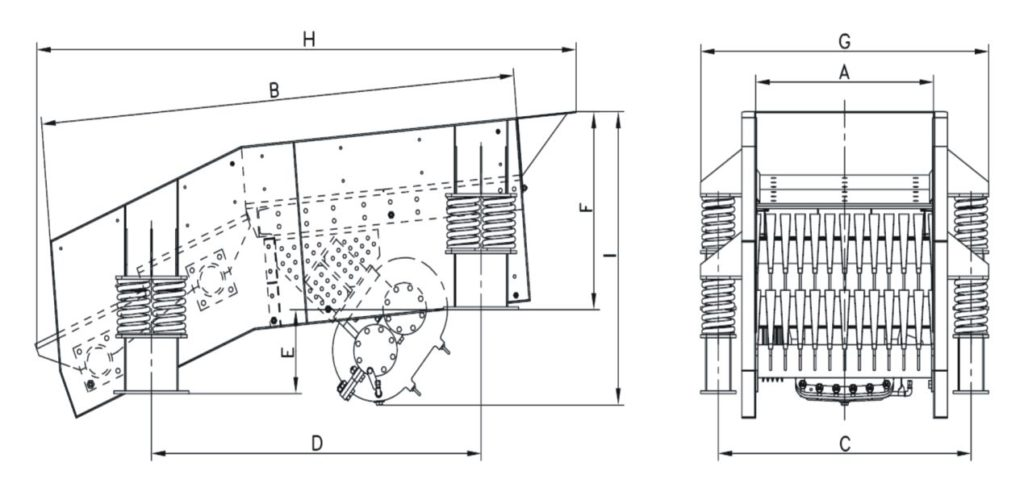 MVG Inclined Vibrating Grizzly Feeder Dimensions Drawing